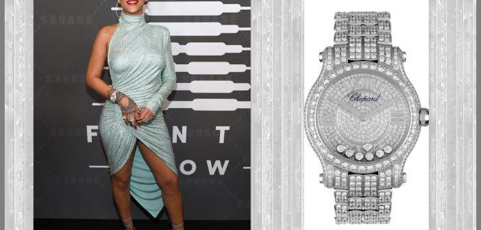 النجمة Rihanna  تتألق بساعة ماسية من Chopard